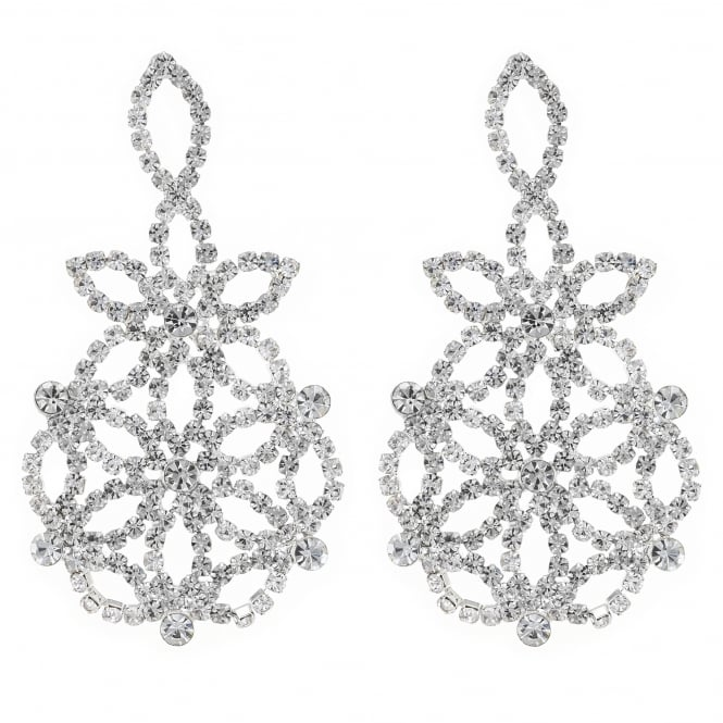 MOOD By Jon Richard Silver floral crystal diamante earring