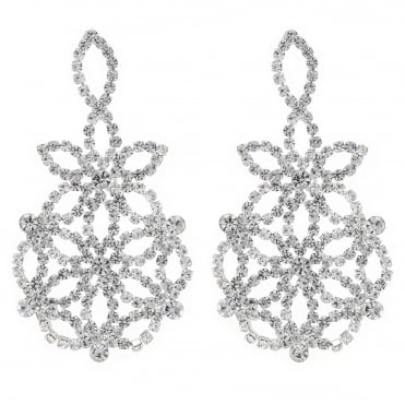 Silver floral crystal diamante earring