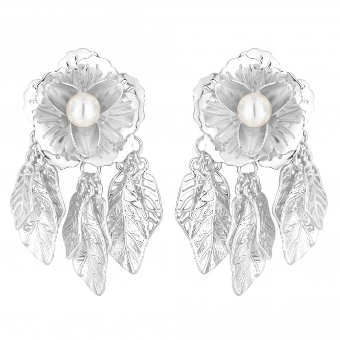 Silver Flower Leaf Drop Earring
