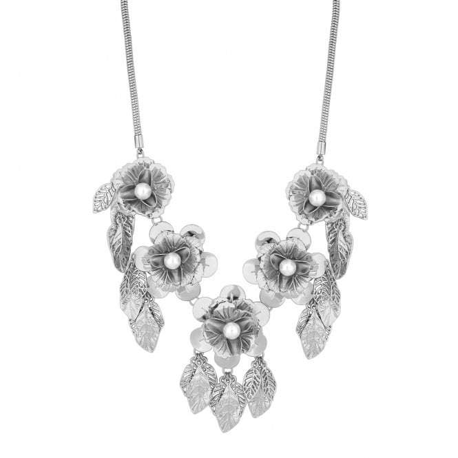 Silver Flower Leaf Statement Necklace