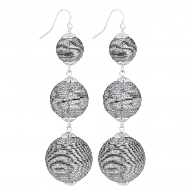Silver Graduated Orb Drop Earring