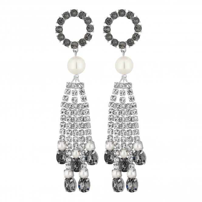Silver Hoop Diamante Tassel Statement Earring