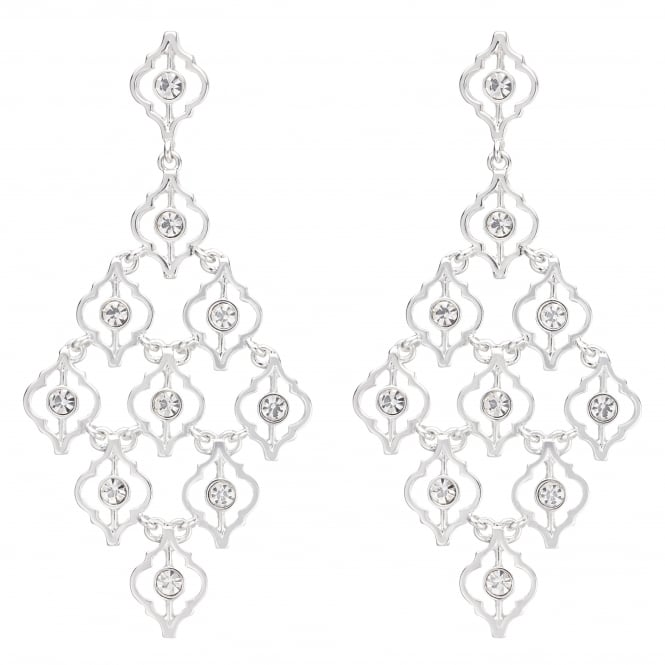 Silver Ornate Crystal Statement Earring