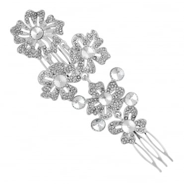 Silver ornate flower hair comb