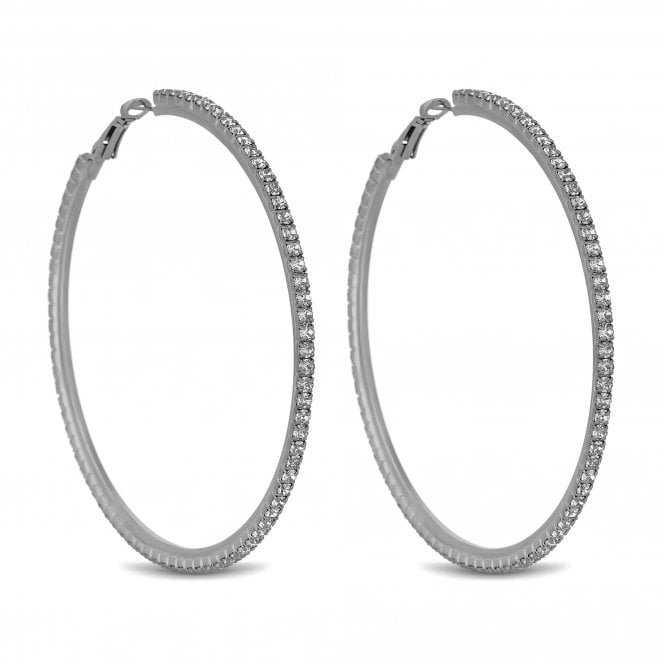 Silver Oversized Diamante Hoop Earring