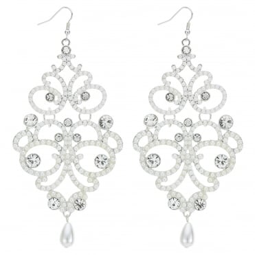 Silver pearl and crystal ornate earring