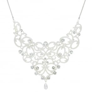 MOOD By Jon Richard Silver pearl and crystal ornate necklace