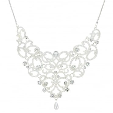 Silver pearl and crystal ornate necklace
