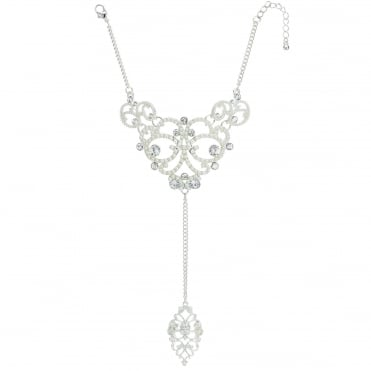 Silver pearl crystal ornate hand chain
