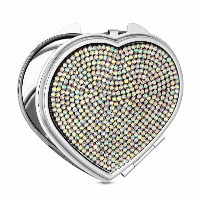 Silver Plated Ab Crystal Heart Compact Mirror