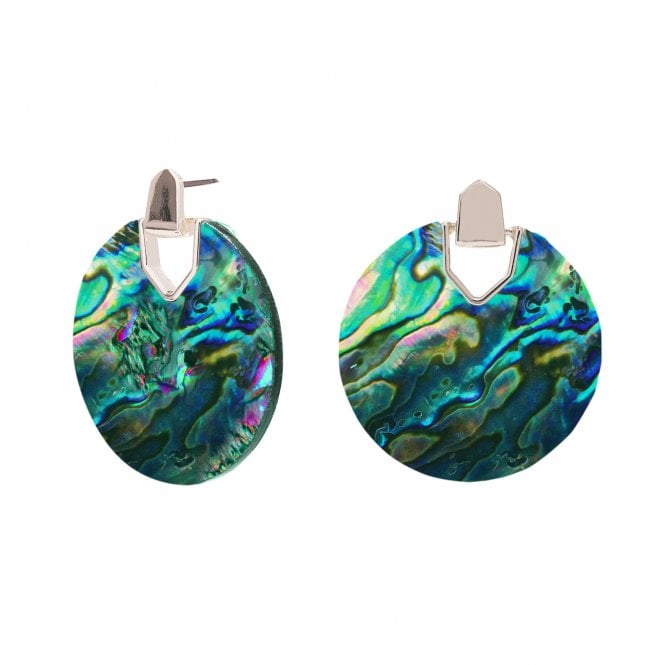 Image of Silver Plated Abalone Disc Drop Earrings