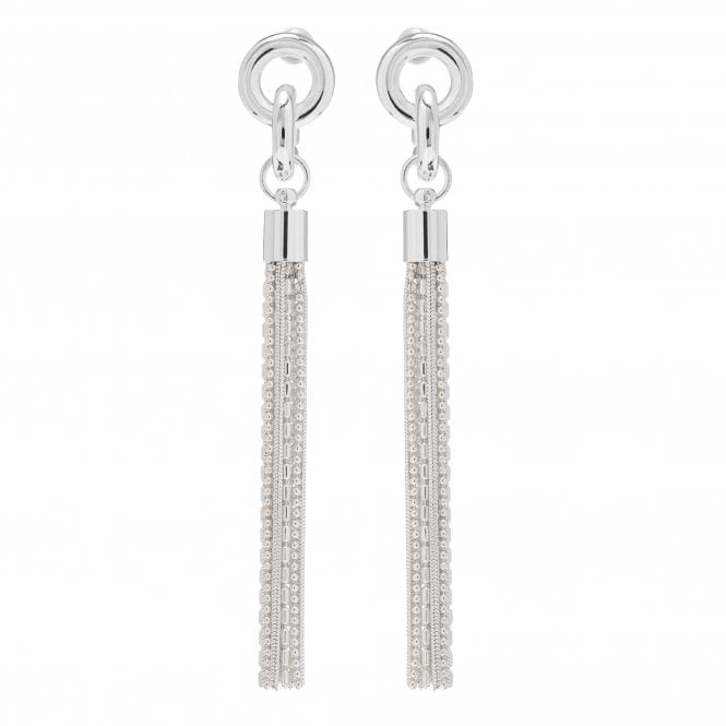 Image of Silver Plated Chain Tassel Drop Earring