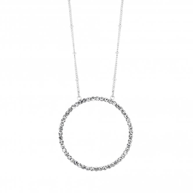 Silver Plated Clear  Pave Outline Round Long Pendant Necklace