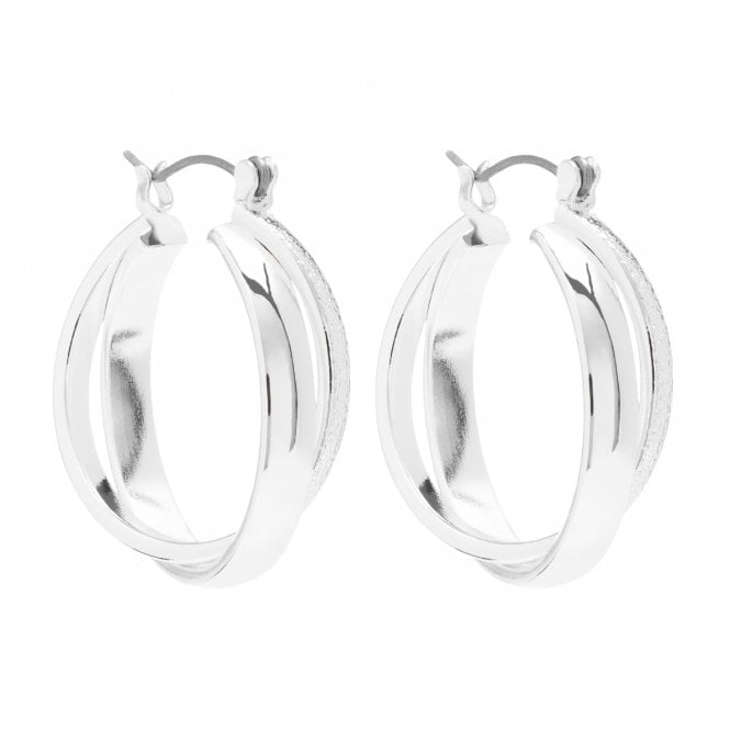 Silver Plated Crossover Polish Hoop Earring
