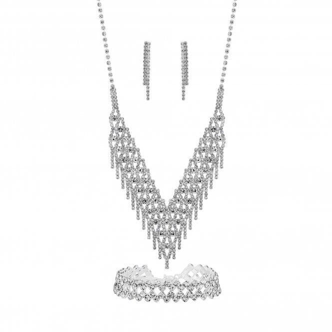 Silver Plated Crystal 3 Piece Shower Matching Jewellery Set