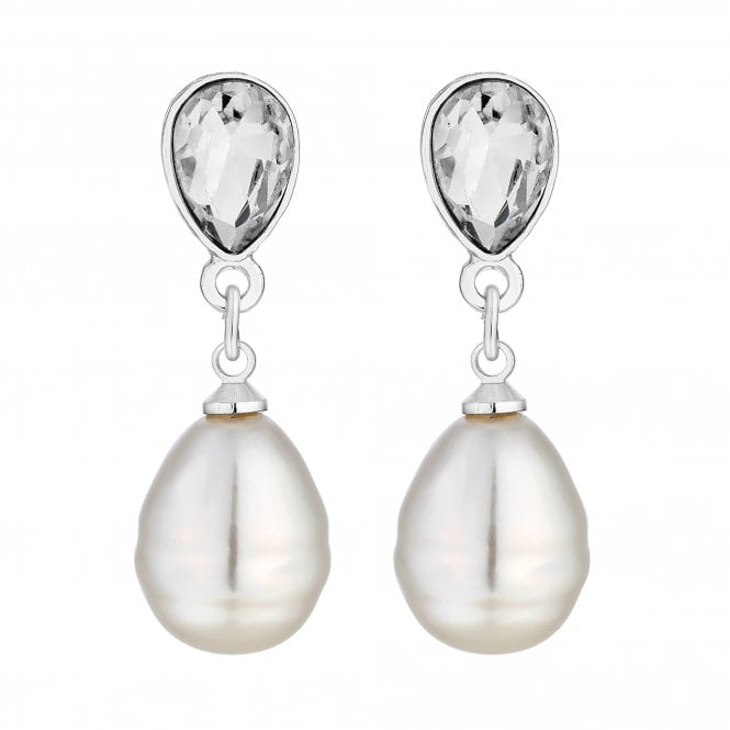 Silver Plated Crystal And Baroque Pearl Drop Earring