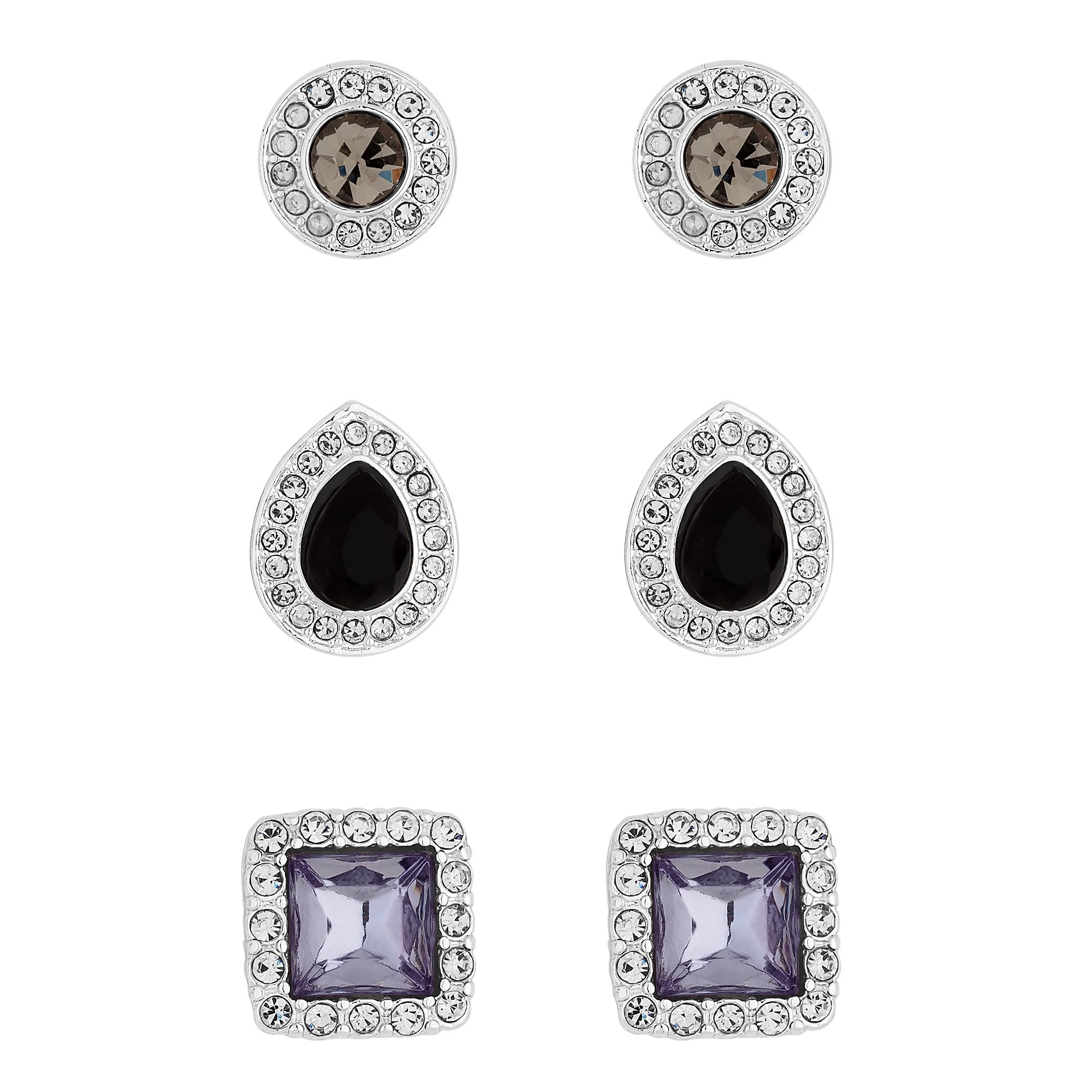 b62a5e2dae569 Silver Plated Crystal Mix Shape Halo Stud Earrings Pack Of 3
