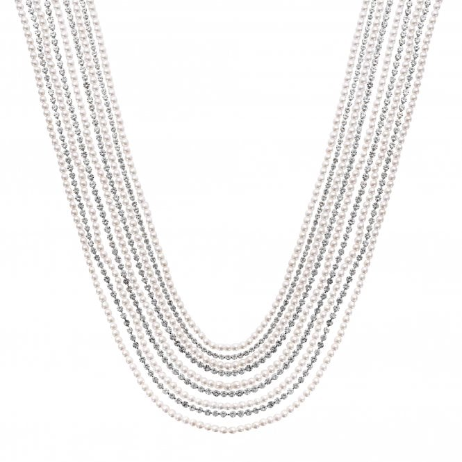 Silver Plated Diamante and Pearl Multirow Necklace