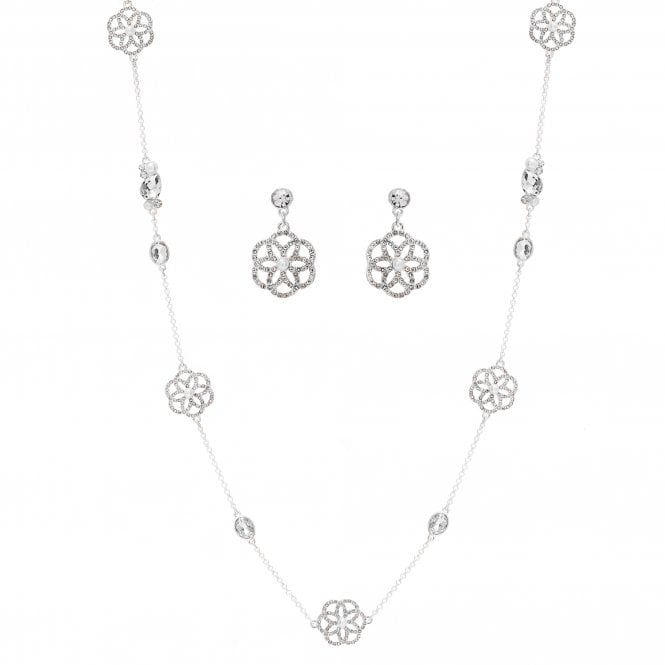 Silver Plated Floral Filigree Necklace And Earring Set
