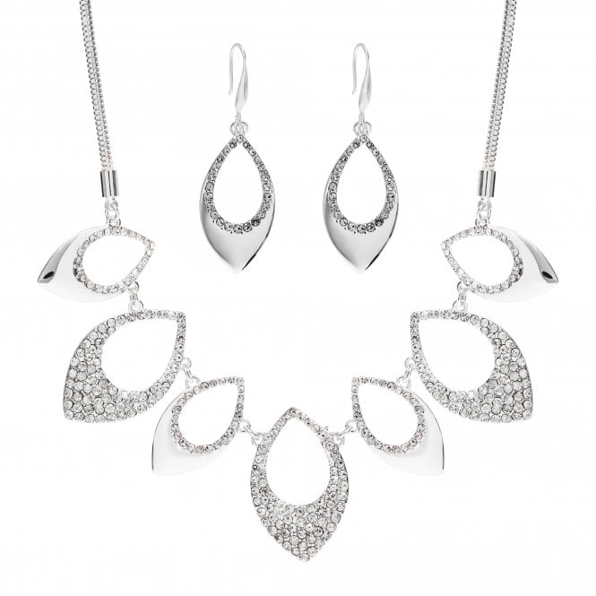 Image of Silver Plated Pave And Polish Necklace And Earring Set