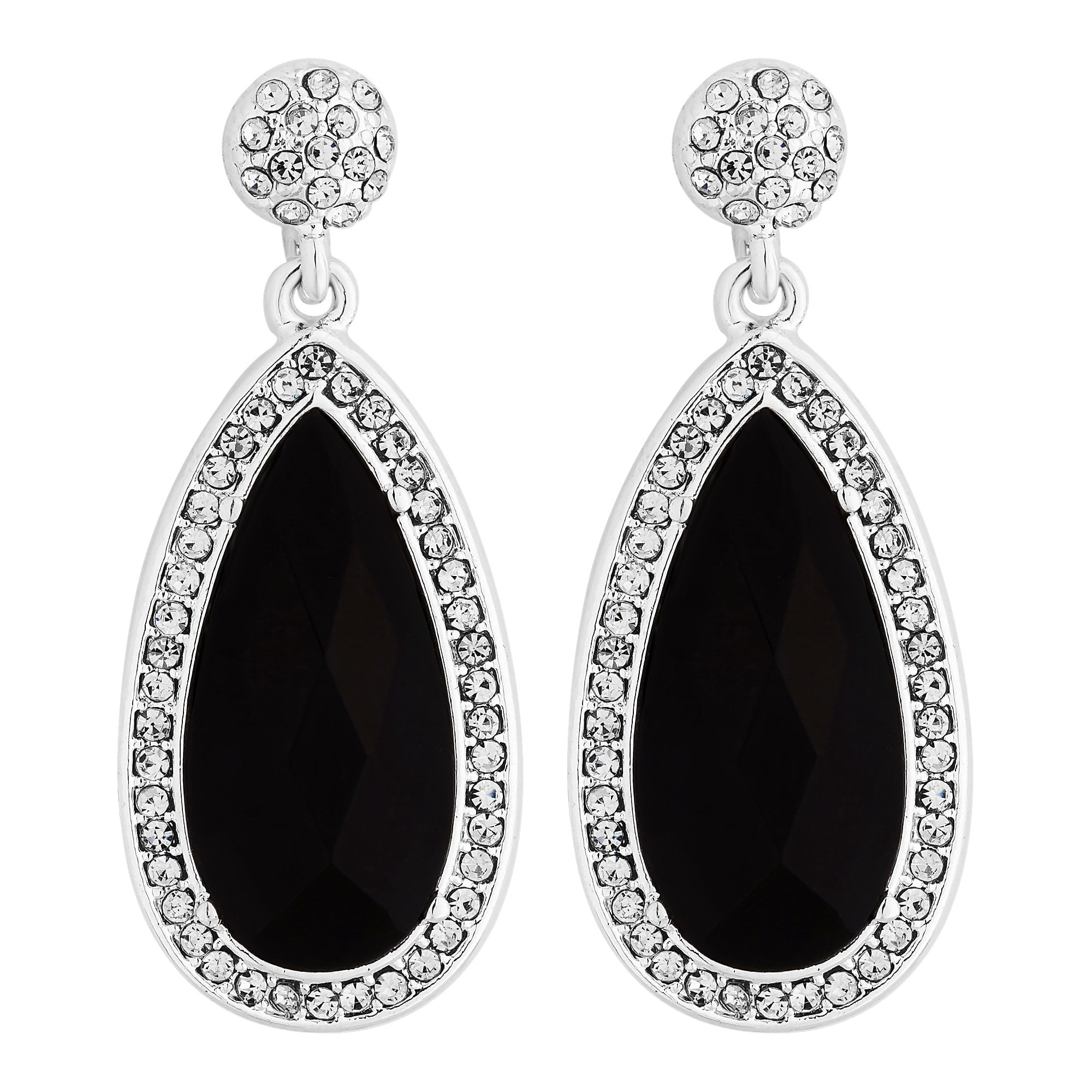 484d4f9903d89 Silver Plated Pave Crystal Black Oval Drop Earrings