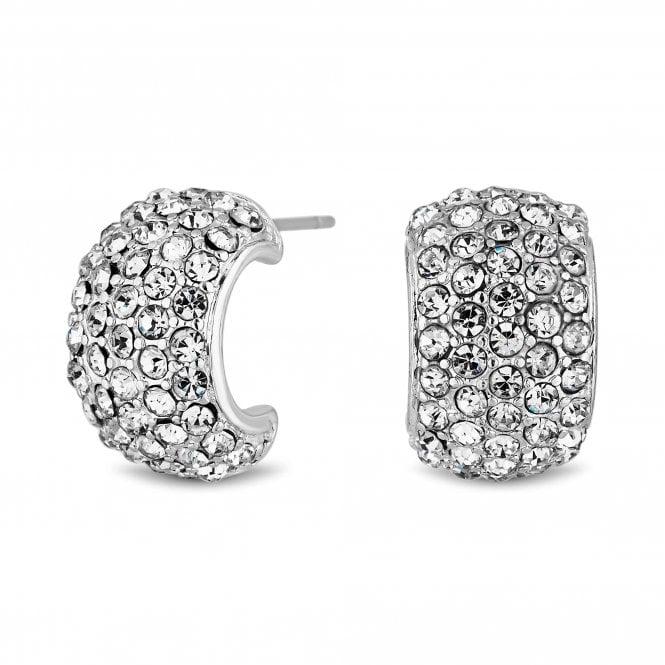 Silver Plated Pave Mini Half Hoop Stud Earrings