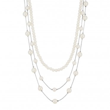 872f49fc1 Silver Plated Pearl Beaded Multirow Necklace