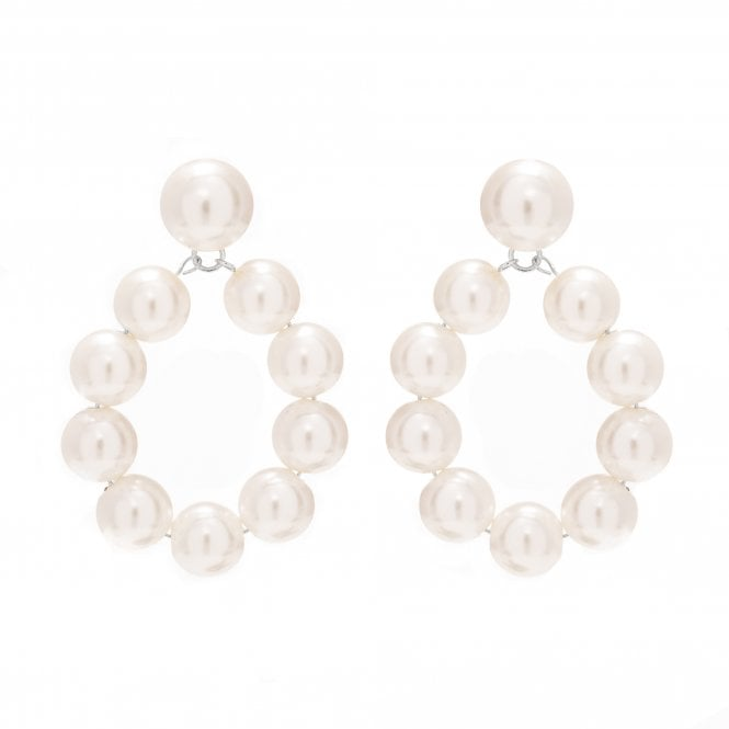 Silver Plated Pearl Front Facing Drop Earrings