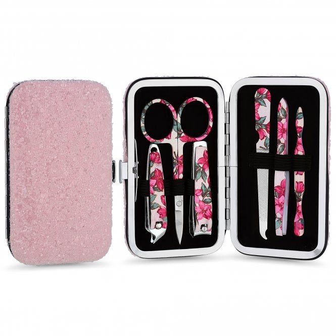 Image of Silver Plated Powder Pink Glitter Manicure Set