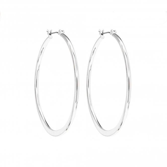 Silver Plated Slice Hoop Earring