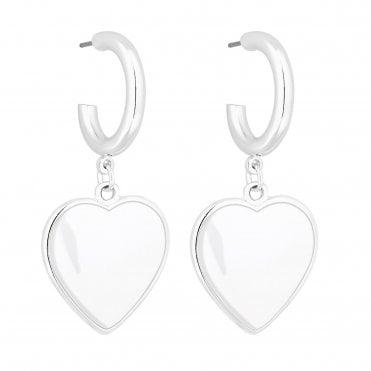 ac2ec86e7 Silver Plated White Enamel Heart Hoop Earring