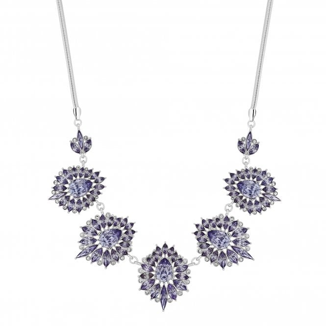 Silver Purple Crystal Ornate Statement Necklace