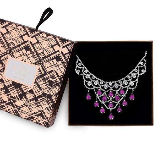 Silver Purple Diamante Crystal Jewellery Set In A Gift Box