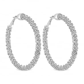 MOOD By Jon Richard Silver sparkle crystal hoop earring