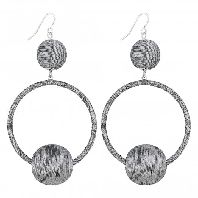 Silver Threaded Orb Hoop Earring