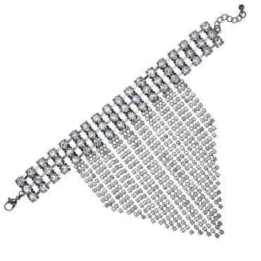 Silver Statement Crystal Hand Chain