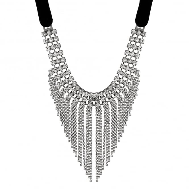 MOOD By Jon Richard Silver Crystal Tassel Statement Necklace