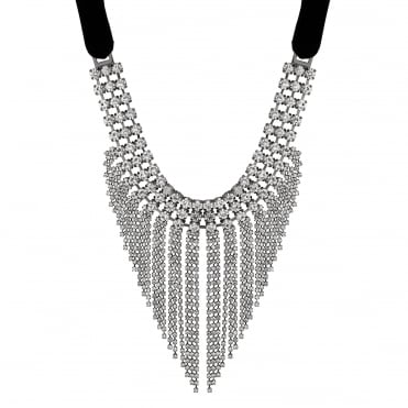 Statement crystal tassel necklace