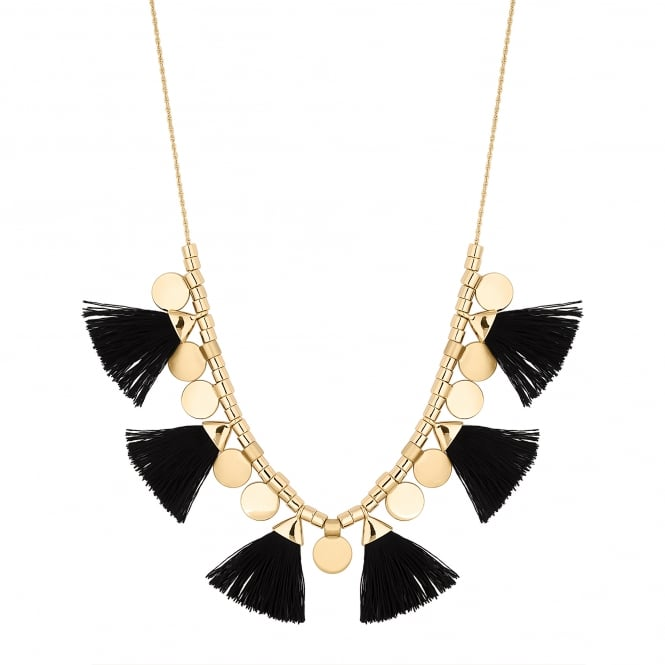 Black Tassel And Gold Disc Toggle Statement Necklace