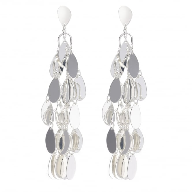 Silver Teardrop Shaker Drop Earring