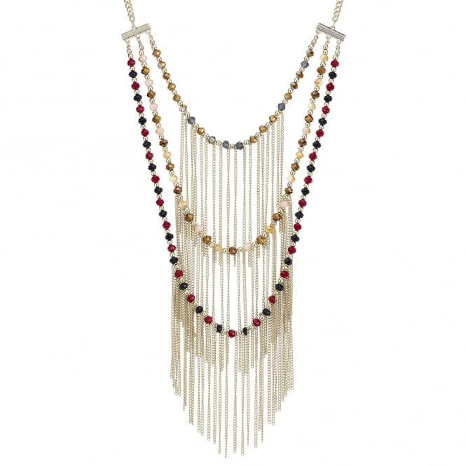 Triple row beaded fringe necklace