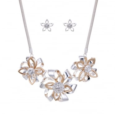 Two tone crystal floral jewellery set