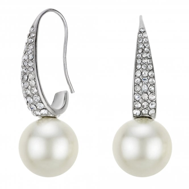 White Pave Pearl Drop Earrings