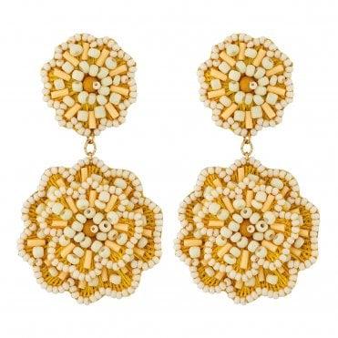 6fcda5694 Yellow Beaded Flower Drop Earrings Made with Seed Bead · MOOD By Jon Richard  ...