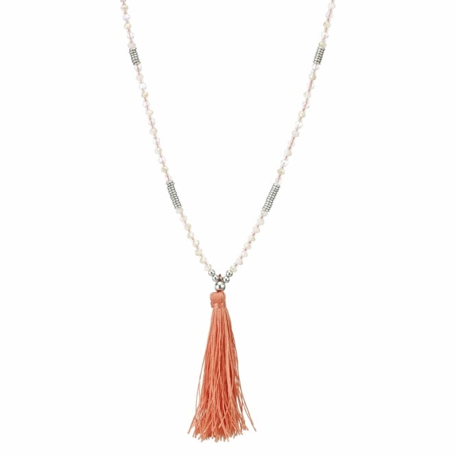 Coral tassel long beaded necklace