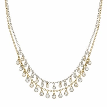 Crystal droplet double row necklace