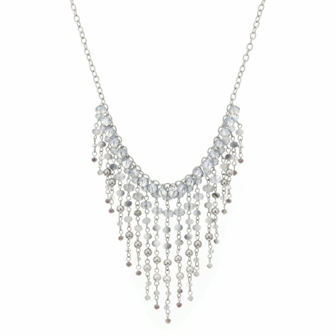 Silver Beaded Shower Statement Necklace
