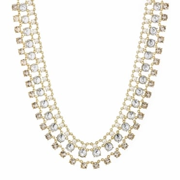 Pearl and crystal round drop triple row necklace