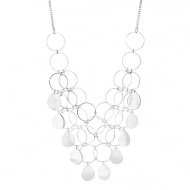 Silver Multi Circle Statement Necklace