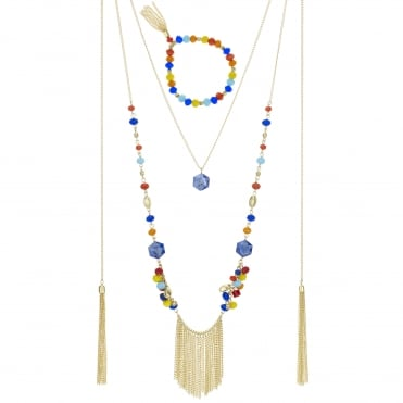 Multi colour beaded jewellery set